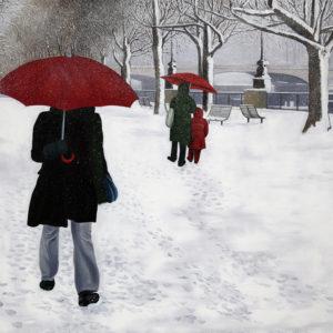 antibes, banc, enfant, galerie venturini, garde alternée, JJV, Juan les pins, neige, parapluie rouge, parents, seine