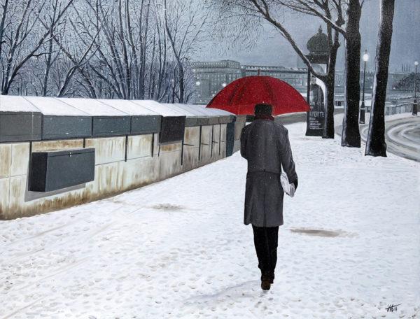 antibes, banc, bouquinistes, galerie venturini, homme, JJV, Juan les pins, kiosque, manteau, neige, parapluie rouge, quais de seine, seine