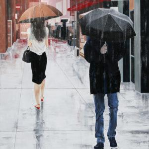 couple, galerie venturini, JJV, lune, Manhattan, parapluies, pluie, rupture