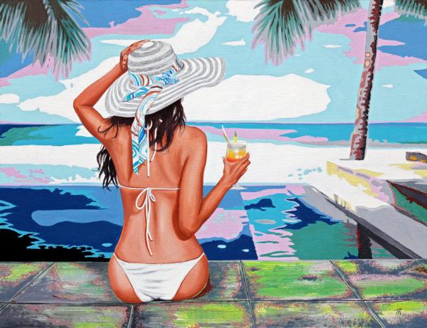 antibes, Bikini, chapeau, cockyail, feme, femmes, horizon, JJV, Juan les pins, mer, palmier, piscine, ruban, sable