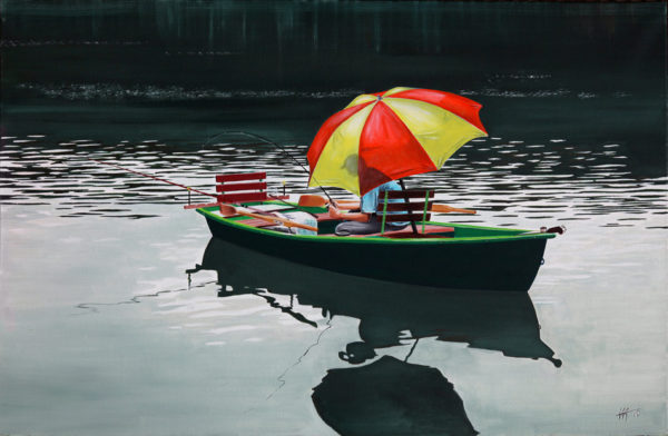 antibes, barque, galerie venturini, JJV, Juan les pins, parapluie, pêcheur, reflet