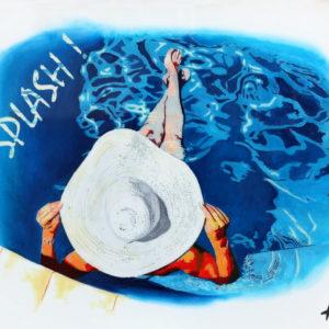antibes, chapeau blanc, ciel, Femme, galerie venturini, JJV, Juan les pins, piscne