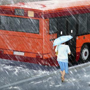 antibes, bus, Femme, galerie venturini, JJV, Juan les pins, parapluie, pluie, stress
