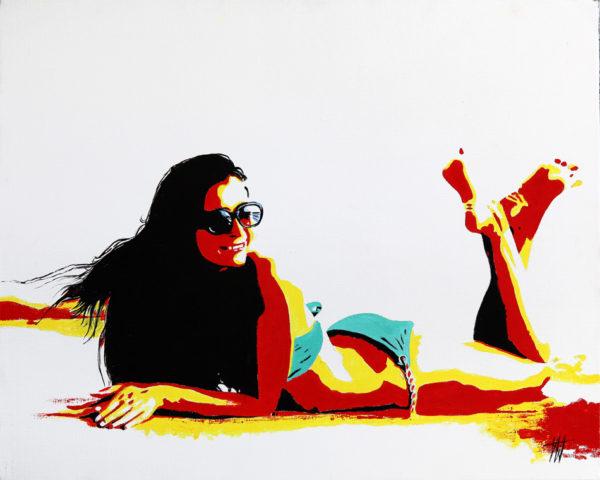 antibes, Bikini, Femme, galerie venturini, JJV, Juan les pins, plage, Pop Art