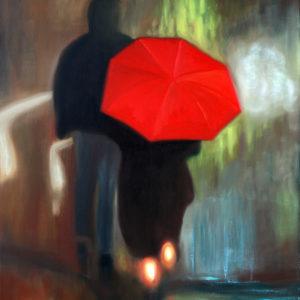 antibes, couple, galerie venturini, JJV, Juan les pins, nuit, parapluie rouge, sentiments