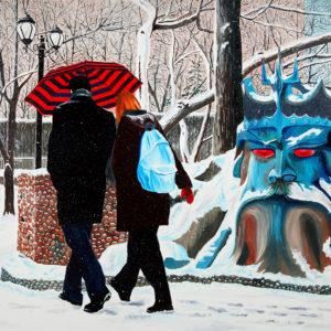antibes, couple, galerie venturini, JJV, Juan les pins, neige, Neptune, parapluie, town parc
