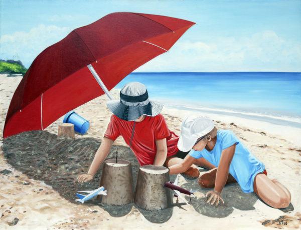 antibes, avions, casquette, chapeau, chateau de sable, enfants, galerie venturini, JJV, Juan les pins, mer, parasol rouge, sable, seau, twins