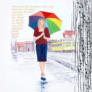 antibes, Femme, gainsborg, galerie venturini, gare, JJV, Juan les pins, parapluie, pluie, train