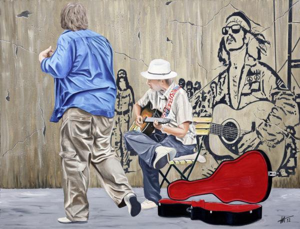 antibes, chapeau, danseur, galerie venturini, guitare, JJV, Juan les pins, mur peint, Woodstock